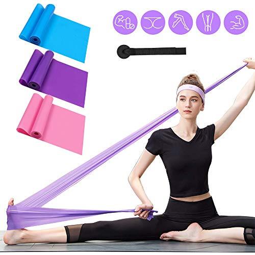 ERUW Fitnessbänder 3er-Set Gymnastikband Widerstandsbänder Elastisch Stretching Bänder Übungsband Trainingsband für Yoga Elastisch Krafttraining, Muskelaufbau, Pilates Fitnessband Kurs