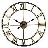 Eruner Schöne große Runde Küchenwanduhr schöne Wohnzimmer große Wanduhr Römische Ziffern Metall Skelett Küche Lounge Deko Uhr Statement, goldfarben antik-Optik, Decorative Large Wall Clock