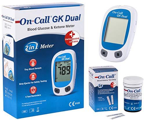Swiss Point Of Care GK Dual Ketone Pack | 1 x GK Dual Messgerät und 1 x Ketone Teststreifen (25 Stück) im praktischen Set | zur laborgenauen Messung von Blut-beta-Keton
