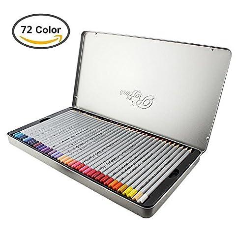Feelily Premium Color Pencils à Base d'huile avec de l'argent métal Tin, 24/36/48/72 Crayon de Couleur pour / Adulte / Artiste / Amateurs de Coloriage Enfant Esquisse, Dessin et de Peinture (72 Couleur)