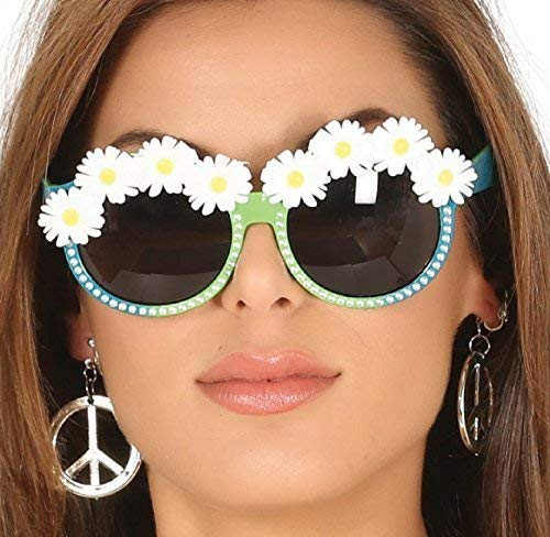 Fancy Me Damen Daisy Blume 1960s Jahre Sechziger 1970s Seventies 60s Jahre 70s Jahre Hippie Hippy Karneval Festival Getönt Brille Sonnenbrille Kostüm Verkleidung Zubehör
