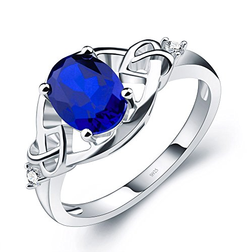 A ANGG 1.3ct Oval Erstellt Saphir Ring 925 Sterling Silbe (Platin-blau Saphir-ring)