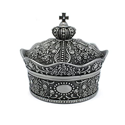 Multi-mo Mental Vintage Crown Ring Necklace Jewellery Trinket Box Creative Gift Present Decorated with Rose Sculpture(Large