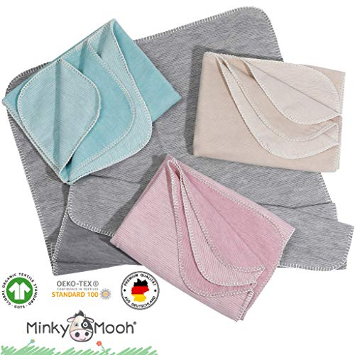 Flauschige Babydecke aus 100% Bio Baumwolle - kuschelige Baumwolldecke hergestellt in DEUTSCHLAND. Ideal als Baby Decke, Erstlingsdecke, Bettdecke oder Kuscheldecke - NEU bei Minky Mooh®! - in grau