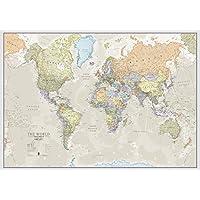 Mapa Clásico del Mundo - Hoja delantera laminada - 118,9 (an) x 84,1 (al) cm