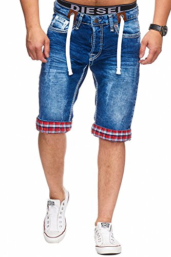 L.Gonline Herren Bermuda Jeans Grau Camou (W33, 3160)