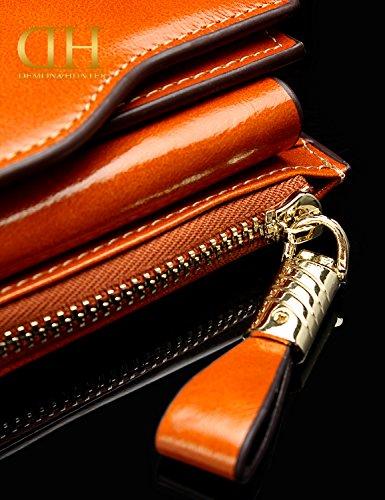 Demon&Hunter Donna RFID Blocco Grande Capacità Lusso Cera Cuoio Genuino Borsa Portafoglio DZA2083 Marrone
