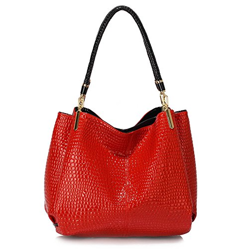 - 51g czLhwxL - Womens Hobo Bags Ladies 3 Compartment Handbag Snake Effect Patent Leather New Shoulder Designer Female Luxury Handbag  - 51g czLhwxL - Deal Bags