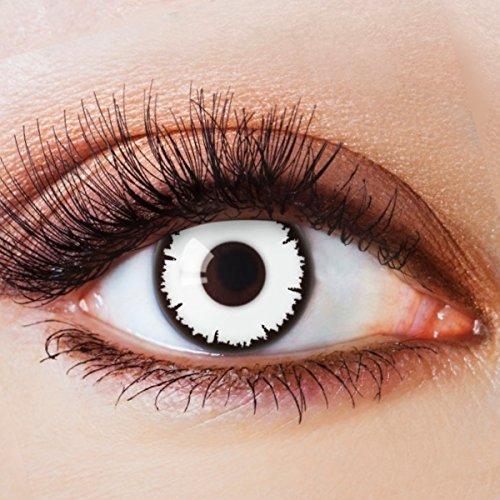 Farbige Kontaktlinsen Ohne Stärke mit Motiv Weiße Linsen Weiße Jahreslinsen für Halloween Fasching Cosplay Kostüm Zombie Vampir Lunatic Weiß