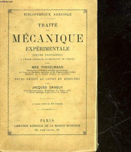 TRAITE DE MECANIQUE EXPERIMENTALE