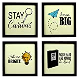 #9: INDIANARA 4 PIECE SET OF FRAMED WALL HANGING KIDS STUDY ROOM (1028) DECOR ART PRINTS 8.7 INCH X 8.7 INCH WITHOUT GLASS