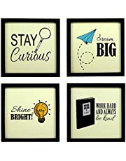 Indianara Synthetic Wood Framed Wall Hanging for Kids Study Room Without Glass(Multicolour, 8.7x8.7 Inches) - Set of 4