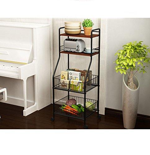 &étagère de rangement Étagère de cuisine Étagère de stockage de sol multicouche assaisonnement de légumes bol de stockage de pot étagère Rack de finition (Color : A)