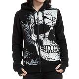 Cheyuan Kausalen Zipper Hoodie Skull Wings Print Kapuzenjacke Mantel Lose Sweatshirt Gothic Hoody Damen