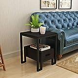 Klapptisch YANFEI, Quadratischer Sofa-Beistelltisch Schmiedeeisen-Rahmen-Seitenschrank mit Schubladen-Schlafzimmer-Beistelltisch, 45 * 45 * 51.5cm (Farbe : SCHWARZ)
