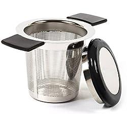 ReaLink Filtre à Thé Acier Inoxydable Infuseur à Thé Passoire à Thé avec Trou Fin poignée en Silicone et Couvercle pour Mug Tasse Théière Ou Les Herbes Aromatiques en Cuisine (Black)