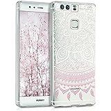 kwmobile Funda para P9 Huawei - Case de cristal para móvil en TPU silicona - Cover trasero de cristal Diseño sol indio rosa claro blanco transparente