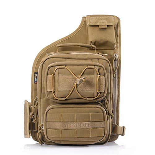 YAKEDA® Im Freien taktisches Schulter-Rucksack, Militär und Sport-Beutel-Satz Daypack für Camping, Wandern, Trekking, Rover Sling - KF043 (Mud color) Mud color