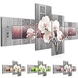 Bild 200 x 100 cm - Blumen Bilder- Vlies Leinwand - Deko für Wohnzimmer -Wandbild - XXL 4 Teilig Teile - leichtes Aufhängen- 800741c