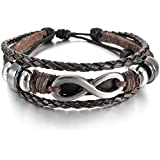 "MunkiMix Alloy Genuine Leather Bracelet Bangle Cuff Silver Brown Love Infinity Charm Symbol ""8"" Surfer Wrap Braided Tribal Adjustable Fit 7~9 inch Men,Women"