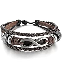 MunkiMix Alloy Genuine Leather Bracelet Bangle Cuff Silver Tone Brown Black Love Infinity Symbol Surfer Wrap Tribal Adjustable Fit 7~9 inch Men,Women