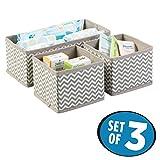 mDesign Aufbewahrungsboxen aus Stoff im 3er Set – Stoffbox in zwei Größen für Wäsche, Windeln, Tücher, Accessoires etc. – flexible Aufbewahrungskiste für den Schrank oder Schublade – taupe