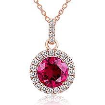 Caperci Collar de Mujer Plata de Ley Chapado en 18K Oro Rosa Lab-Creado Rubí y Zirconia Cúbica 45cm Regalo Joyería para Mujer