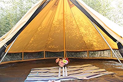 Sport Tent Outdoor 3-4-person home camping tent Apex Tent yurts Large luxury Camping camp With chimneys 6M Beige 600*350*180/70 cm