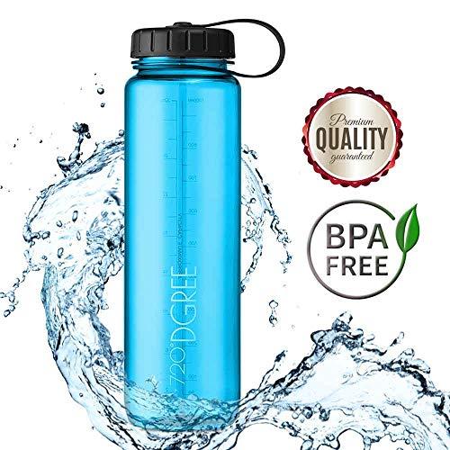 720°DGREE Trinkflasche simplBottle Wasserflasche aus Tritan 1l, 1000ml | Auslaufsichere Flasche mit Weithals für Sport, Outdoor | Perfekte Sportflasche Blau - BPA Frei | Gym Bottle - Robust