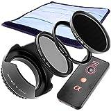 Lumos 6Set d'accessoires avec 55mm Pare-soleil Filtre UV CPL Filtre polarisant filtre gris nd1000Étui et IR Télécommande de déclencheur/Convient pour Appareil photo Sony Alpha 5565687799et filetage de filtre objectif avec 55mm DT 18–55mm 3.5–5.6Sam II sal35F18