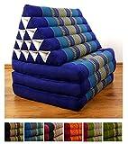 Jumbo Dreieckskissen XXL der Marke livasia®, Thaikissen aus Thailand, Liegematte asiatisch bzw. Thaikissen (Thaimatte) mit Triangelkissen als Nackenstütze (blau)