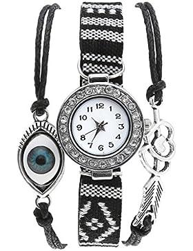 JSDDE Uhren,Vintage Ethnisch Armreif Armbanduhr mit Strass Pfeil Herz Blau Augen Lederarmband Analog Quarzuhr,...