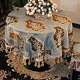 LSJT Tischdecke Runde Tischdecke Tischdecke Runde Couchtisch Tuch Blau Grün (größe : 120cm)