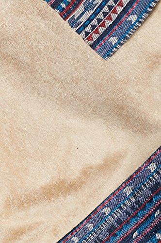 Cherry Paris VENTE SPECIAL PROMO -40% - Tunique robe femme AMBIKA En Suédine Coupe Droite MancheS 3/4 Col Rond Finitions Broderies Ethniques Tissée Beige