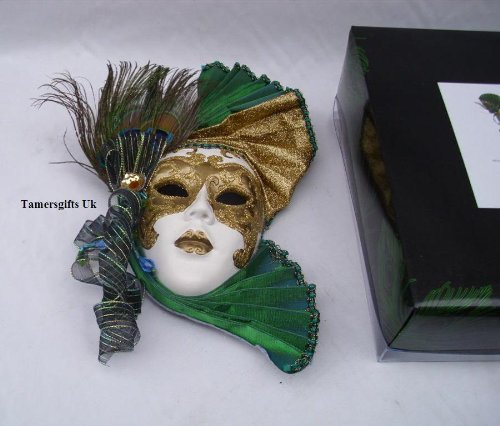 LEONARDO HOME Venezianisches Wandbild in Form Einer Maske, Grün/goldfarben