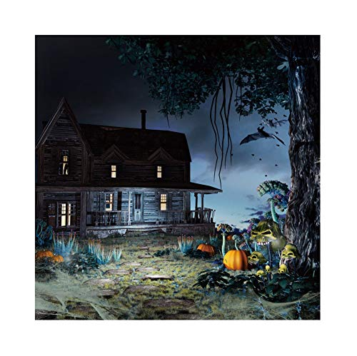 OERJU 2,5x2,5m Halloween Hintergrund Geheimnisvoll Alt Holzhaus Schrecklicher Kürbis Blume Fledermaus Hintergrund Halloween Party Fotografie Süßes oder Saures Kinder Party Banner Dekoration Porträt