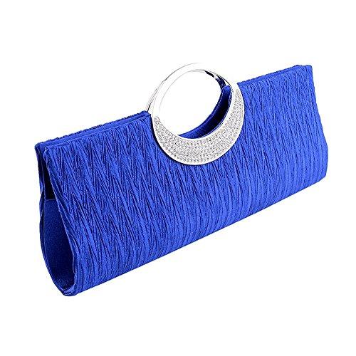 jEZmiSy Frauen Luxus Strass Satin Plissee Abendtasche Party Clutch Handtasche Handtasche Sapphire Luxus Strass