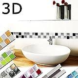 Wandaro 7erPack 25,3 x 3,7 cm Fliesenaufkleber schwarz weiß Silber Design 3 I 3D Mosaik Fliesendekor große Auswahl für Küche Bad selbstklebend Folie W3366