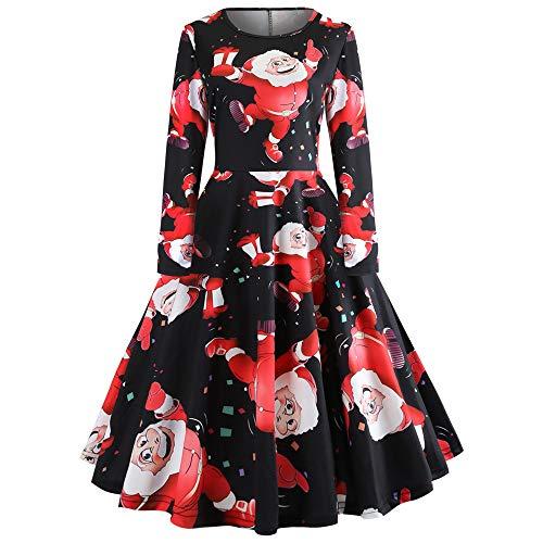 ODJOY-FAN Frau Langarm Gedruckt Kleid, O Ausschnitt Partykleid Retro Schlank Kleid Mode Eine-Linie...