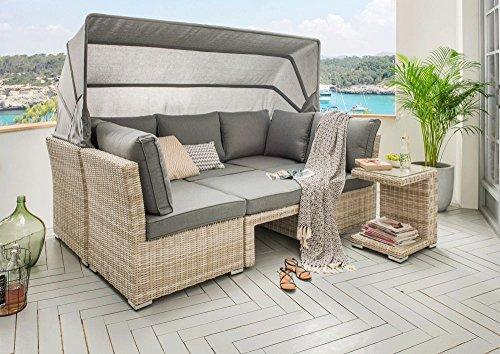 "Beauty.Scouts Loungeset \""Martinique\"", Loungemöbel Set grau braun Sofa 3-Sitzer Single Seat Hocker Tisch Polyrattan inkl grauen Polstern"