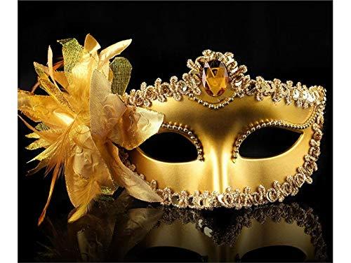 kxrzu Kreative große Lilie Feder Maske Maskerade Maske für Halloween Party venezianischen Kostüm (Gold)