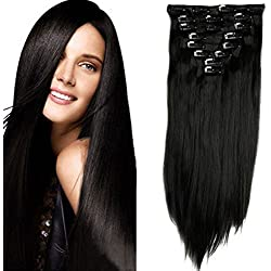 """S-noilite® Largo 26"""" (66 cm) extensiones de cabello cabeza completa clip en extensiones de pelo recto with 18 clips - Negro natural"""
