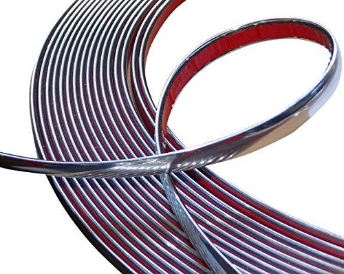 Aerzetix: 12mm 4.5m Klebebandstreifen Chrom-Nickel-Silber-Farbe