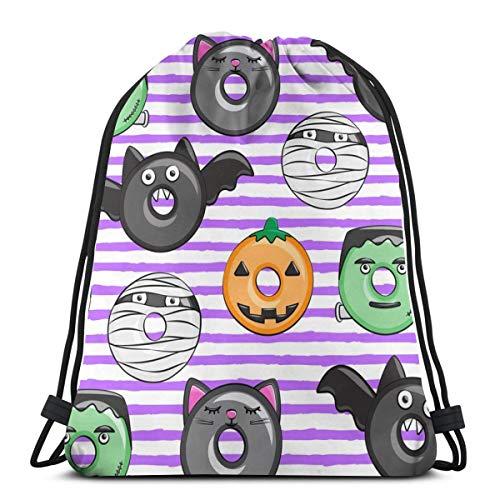 Nicegift Halloween Donut Medley Purple Stripes Pumpkin Fran 3D Print Drawstring Backpack Rucksack Shoulder Bags Gym Bag 17 X 14 Inch