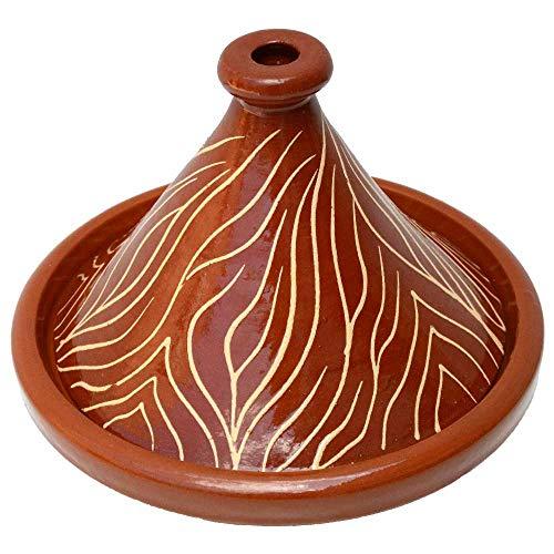 Lorient Tajine Tontopf NAR aus Marokko Glasiert Ø 30 cm für 2-4 Personen für die marokkanische Küche | Aus naturbelassen schadstofffreier Lehmerde in Handarbeit gefertigt und verziert