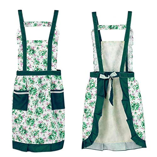 Butterme Women's Korean Princess Floral Rose Flower Garden Pastoralism Aprons Cooking Baking Kitchen Aprons with Two Pockets Great Gift For Wife Ladies (Green)