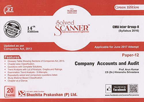 Shuchita Prakashan's Solved Scanner on Company Accounts and Audit for CMA Inter Group - II Paper -12 June 2017 Exam