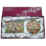 Mère de perle blanc perle Pin & GRUE conception Loupe Double miroir compact de maquillage avec porte carte crédit Nom de Visite de Gravure Fine en acier inoxydable d'argent cas