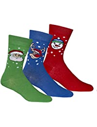 Zest Mens Cotton Rich Festive Christmas Socks Size 6-11