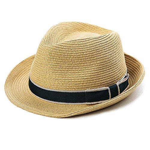 SIGGI unisex Sonnenhut Stroh Panama Fedora Strandhut Kurze Krempe beige